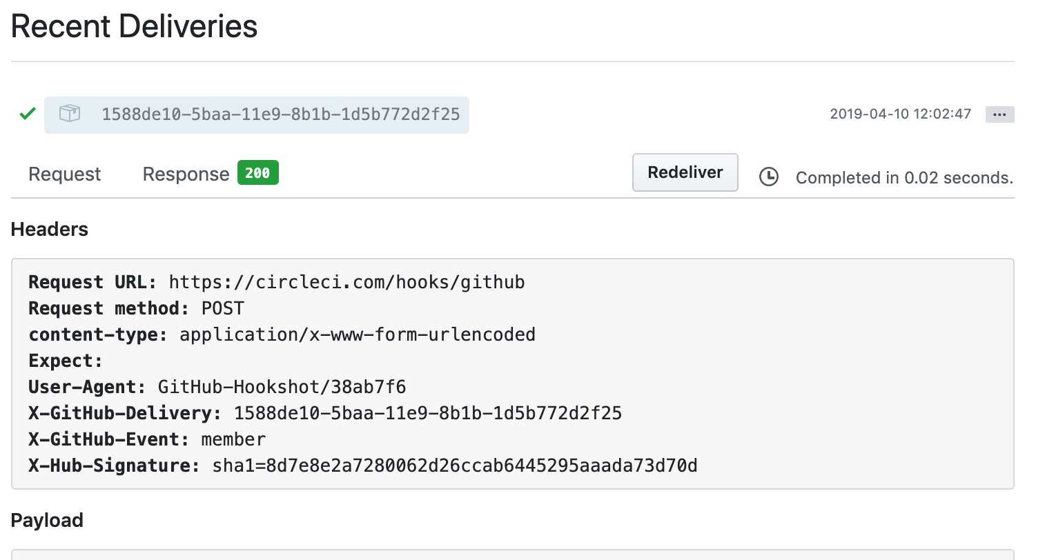 How to view your GitHub WebHook deliveries – CircleCI